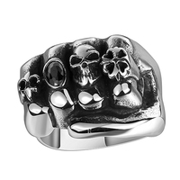 Indian Men S Stainless Steel Gothic Punk Skull Head Oval Stone Fist Finger Ring Fashion Cool