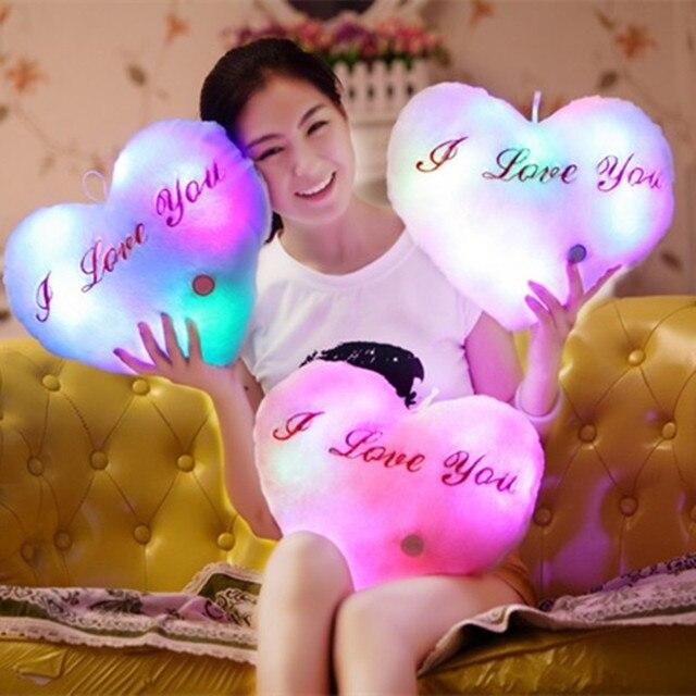 Я тебя люблю Мигающий СВЕТОДИОД Сердце Подушки Игрушки День святого валентина Подарок Дети Мягкий Свет Подушка Световой Кукла