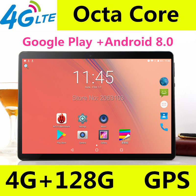 Super 10 Inch Tablet Octa Core 4GB RAM 64GB ROM 1920*1200 IPS Screen Dual SIM Card Slots 3G 4G LTE Android 8.0 Google Play