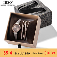 IBSO Women Watches Set Luxury Ladies Quartz Watch with Crystal Bangle 2019 New Women Bracelet Watches Women's Day Gifts
