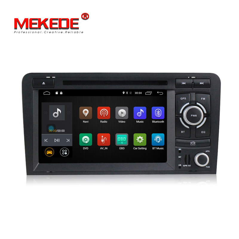 Free shipping! 2G RAM Quad Core android 7.1 CAR dvd multimedia radio audio for AUDI A3 S3 RS3 2002-2011 with GPS navigation