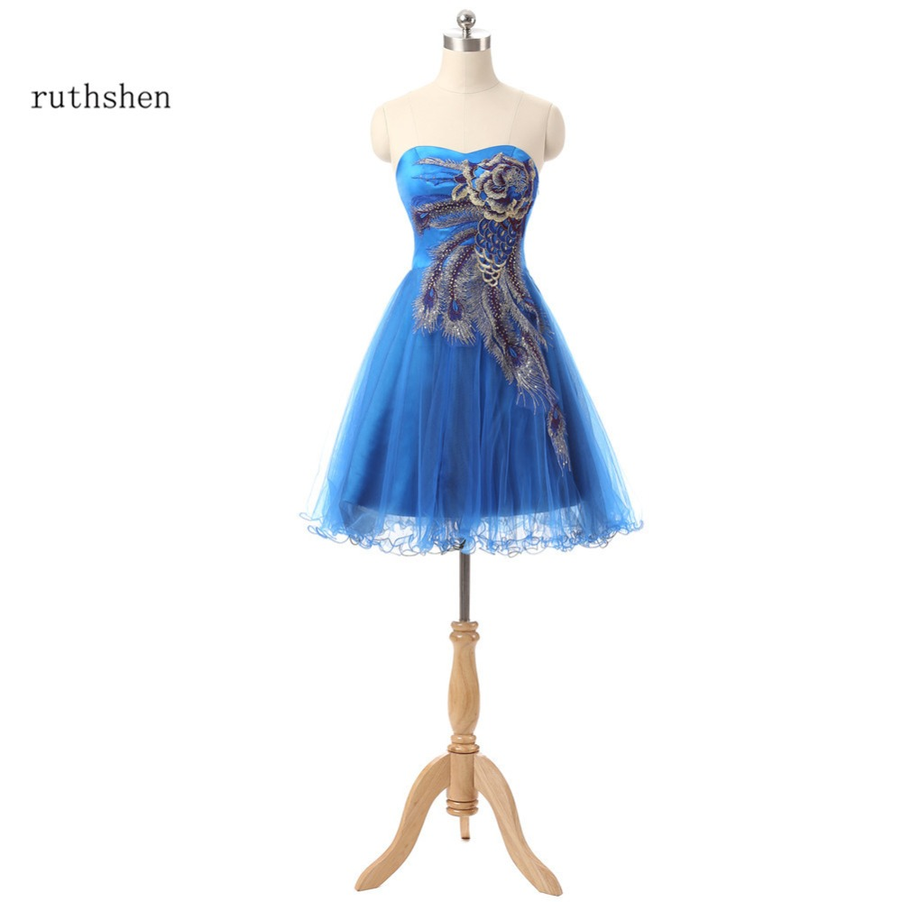 ruthshen Short Peacock   Prom     Dresses   Cheap 2018 Strapless Real Photo Cocktail Party   Dress   Vestidos De Coctel Formal   Prom   Gowns