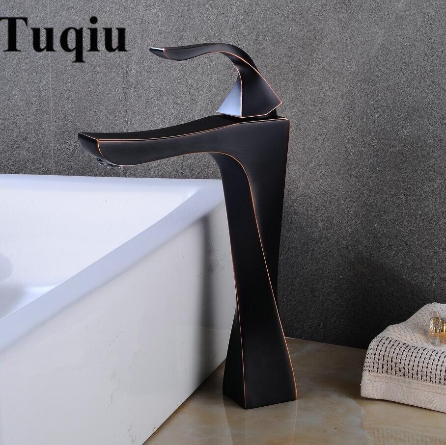 Robinet de lavabo noir huile brossé cuivre salle de bain robinet mélangeur Vintage chaud froid robinet de lavabo mitigeur évier poignée unique grue