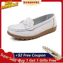 Krasovki Single Shoes Women Spring Autumn Flat Bottom Dropshipping Casual Small White Slip on Leather Soft