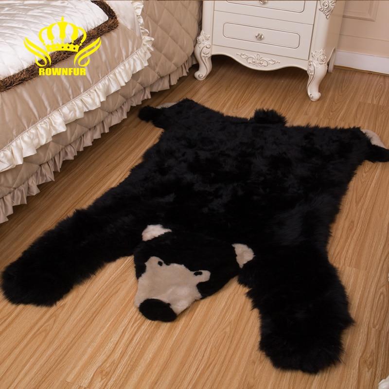 ROWNFUR Soft Natural Sheepskin WOOL Rugs Carpets Bear For Kids Room Bedroom Living Room Warm Hairy Skins Bedside Fur Area Mat-in Carpet from Home & Garden    1