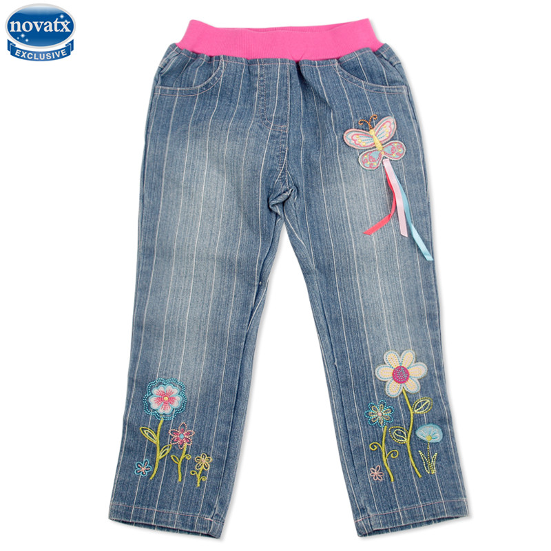 Novatx G3725 girls jeans flower embroidery children clothes cowboy kids clothes fashion jeans baby clothing trousers girls jeans