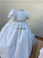Детские платья для крещения для маленьких мальчиков и девочек Длинные бисером Bling жемчуг кристаллы, стразы на крестины с капота