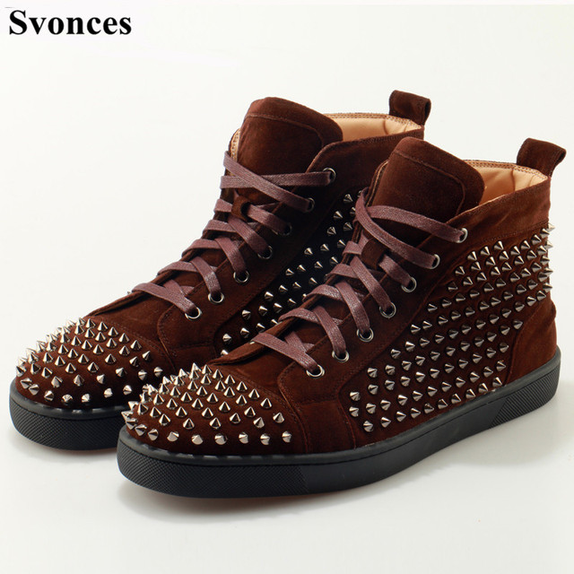 e5e96e58b43 Svonces Coffee Suede Spikes High Top Sneakers Red Thick Bottoms Men Causal Shoes  Fashion Lovers Luxury Designer Flat Shoes 35-47