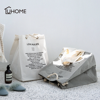 Duża pojemność kosz na pranie składana torba tkanina organizator worek na pranie kosze bawełniane duże kosze torby kosz na pranie tanie i dobre opinie YIBO Ekologiczne Składane Other Nowoczesne 32X28CM