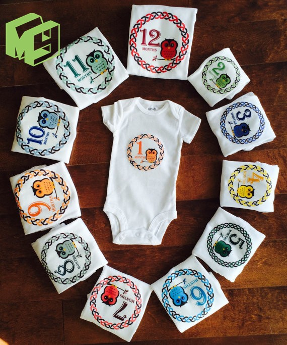 Culbutomind 1 month to 12Months Monthly Baby Bodysuit Baby 1st Birthday Shower Gift Funny Baby Clothes