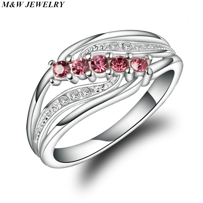 M&W JEWELRY Hot sale wholesale jewelry lot for women rings Rhodium Plating Wedding Dainty Red zircon Lady Ring Jewelry