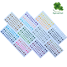Round assorted size self adhesive enamel dots glitter