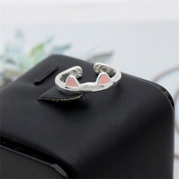 Fashion Pet Dog Paw Foot Print Cat Ear Ring Silver Fox Angel Wings Bee Rabbit Heart Wedding Rings For Women Animal Jewelry Anel 2