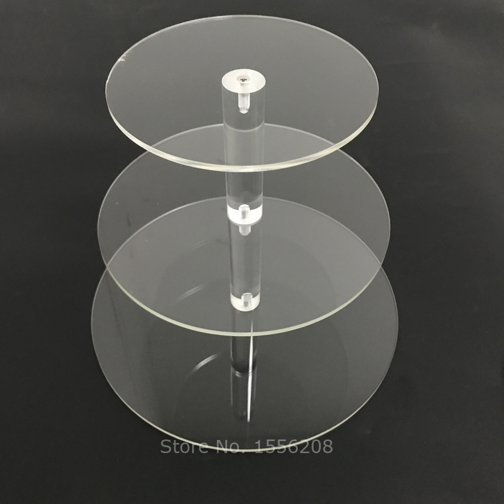 3 camada de acrílico transparente cupcake carrinho