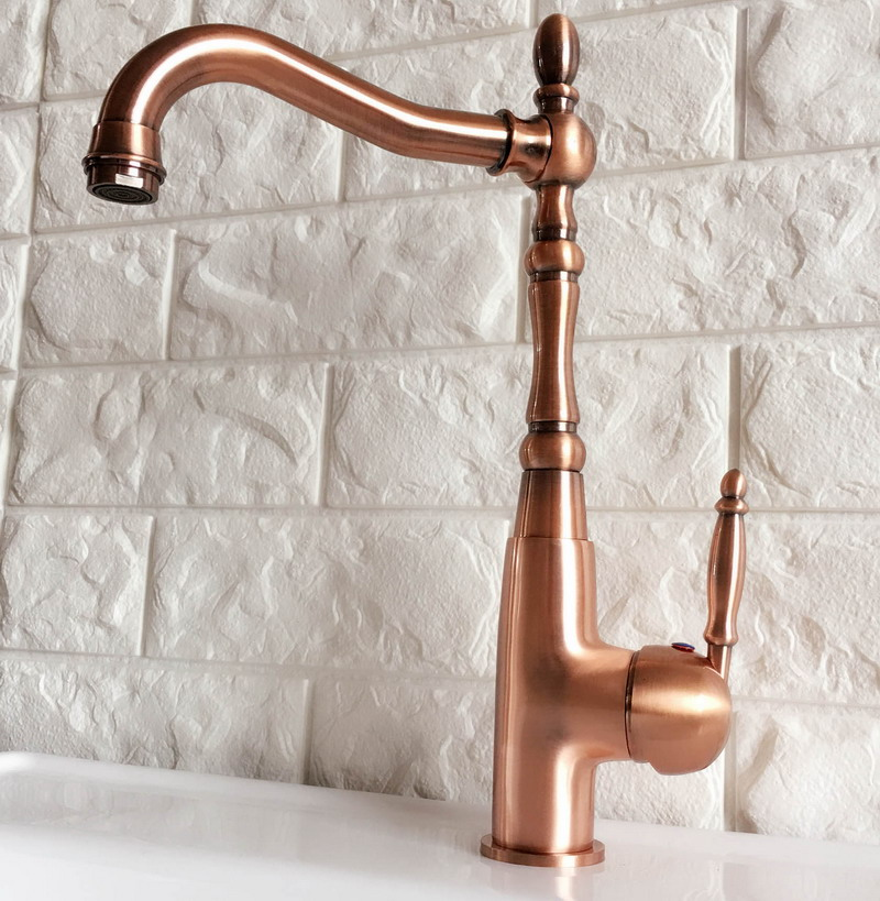 Swivel Spout Water Tap Antique Red Copper Single Handle Single Hole Kitchen Sink & Bathroom Faucet Basin Mixer Tap anf420Swivel Spout Water Tap Antique Red Copper Single Handle Single Hole Kitchen Sink & Bathroom Faucet Basin Mixer Tap anf420