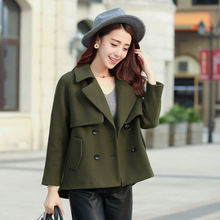 Fashion 2016 Autumn Winter Wool Coat For Women Warm Outwear Double Breasted Turn-downCollar Trench Short Slim Coats Female JX090