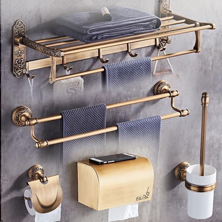 Antike Bronze Geschnitzte Badezimmer Zubehör Set Aluminium Bad Hardware Sets Handtuch Rack, Papier halter Wc Pinsel Halter