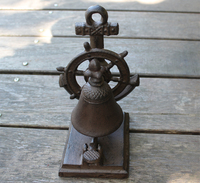 Cast Iron Boat Anchor Tabletop Bell Ship Wheel Rustic Brown Nautical Decor Service/ Hotel/ Desk/ Dinner Bell Marine Style Decor