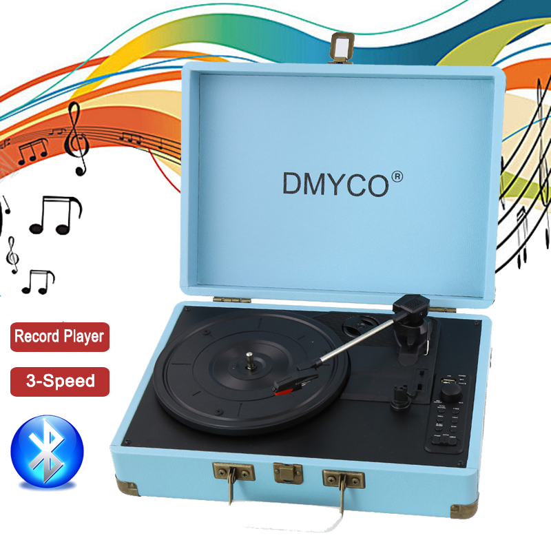 Portable Stereo gramophone Home Turntable USB Portable suitcase vinyl machine Antique Vintage LP phonograph Audio record player купить недорого в Москве