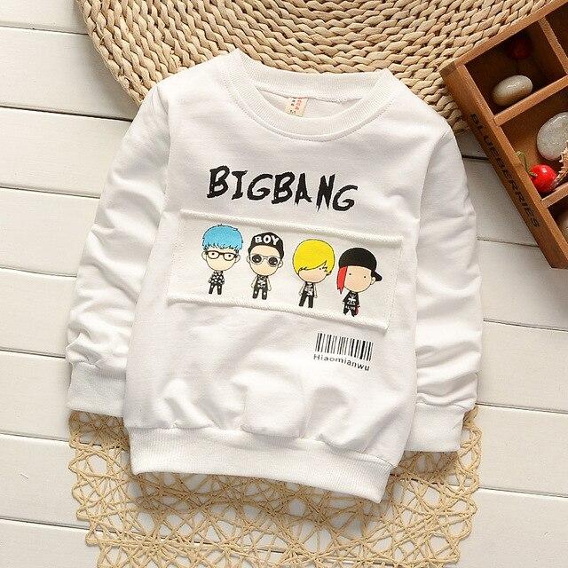 Baby boy девушка детская одежда мода детская одежда с длинным рукавом мультфильм толстовки хлопка 2-7 лет 2016 осень новый рубашки пальто