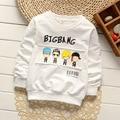 Bebé niño niña ropa de los cabritos niños de la manera ropa de manga larga de la historieta camisetas de algodón 2-7 años 2016 otoño nueva capa de la camisa