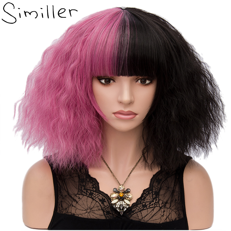 Similler 14 Hot Pink Blonde Two Tones Short Kinky Curly Women Synthetic Wigs Cosplay Heat Resistance Hair Patchwork Color