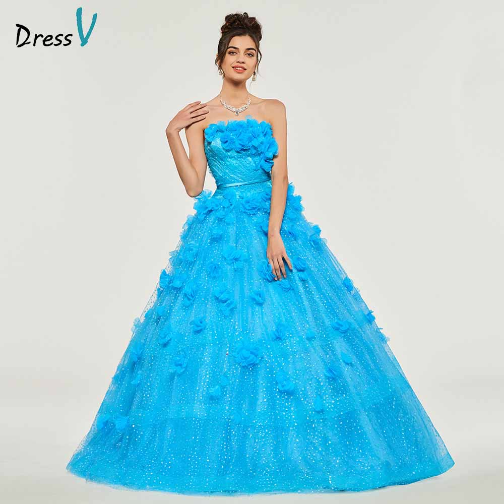 Dressv Ball Gown Strapless Quinceanera Dresses Lace Up Princess Ruffles Sleeveless Sweet 16 Dress Vestidos De Debutante 15 Anos