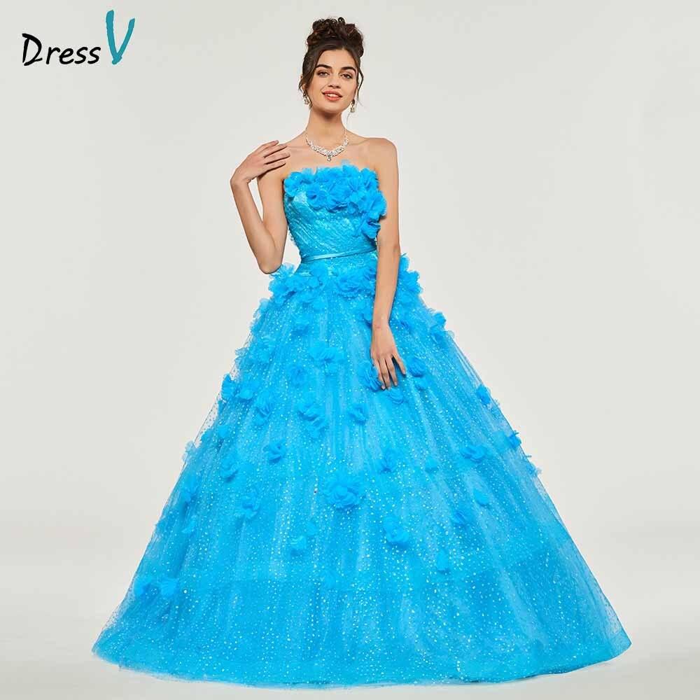 Dressv Ball Gown Strapless Quinceanera Dresses Lace Up Princess Ruffles Sleeveless Sweet 16 Dress Vestidos De Debutante 15 Anos