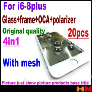 Image 2 - 20pcs Earpiece mesh 4in1 Cold Press For iPhone 8 7 6 6s plus Front Screen Outer Glass+Frame OCA+Polarizer Screen Replacement