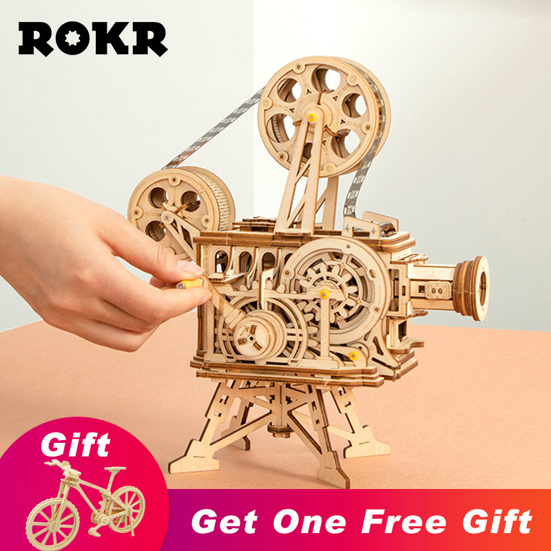 ROKR Vitascope 3D Wooden Puzzle Handheld Classic Film Projector Home Decor Assembly Model Toys for Children