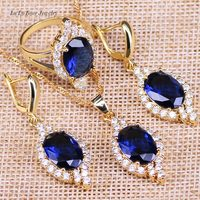 L B Gold Color Blue Created Sapphire White Zircon Jewelry Set For Women Wedding Accesspries Parure