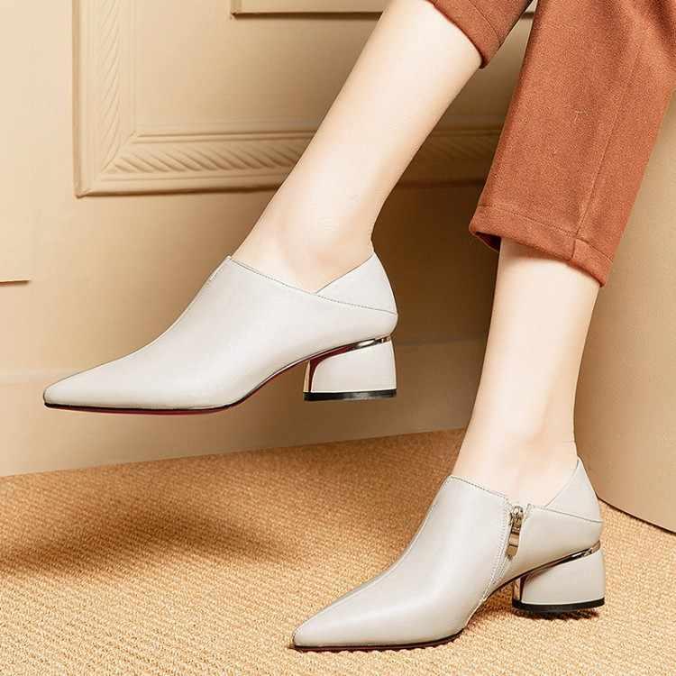 MLJUESE 2019 frauen pumpt Weichem Kuh leder herbst frühling beige farbe reißverschlüsse spitz high heels schuhe party kleid größe 33-42