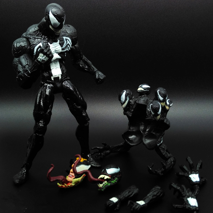 SAINTGI 1pcs SpiderMan Black Venom Agents Ant Man Amazing Marvel PVC Action Figure Collectible Avengers Movable Body Venom 20cm