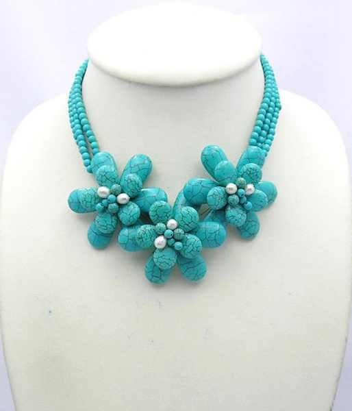 Bead Necklace blue howlites Beaded Jewelry Birthday Party Wired flower With howlite Freshwater Pearl Necklace