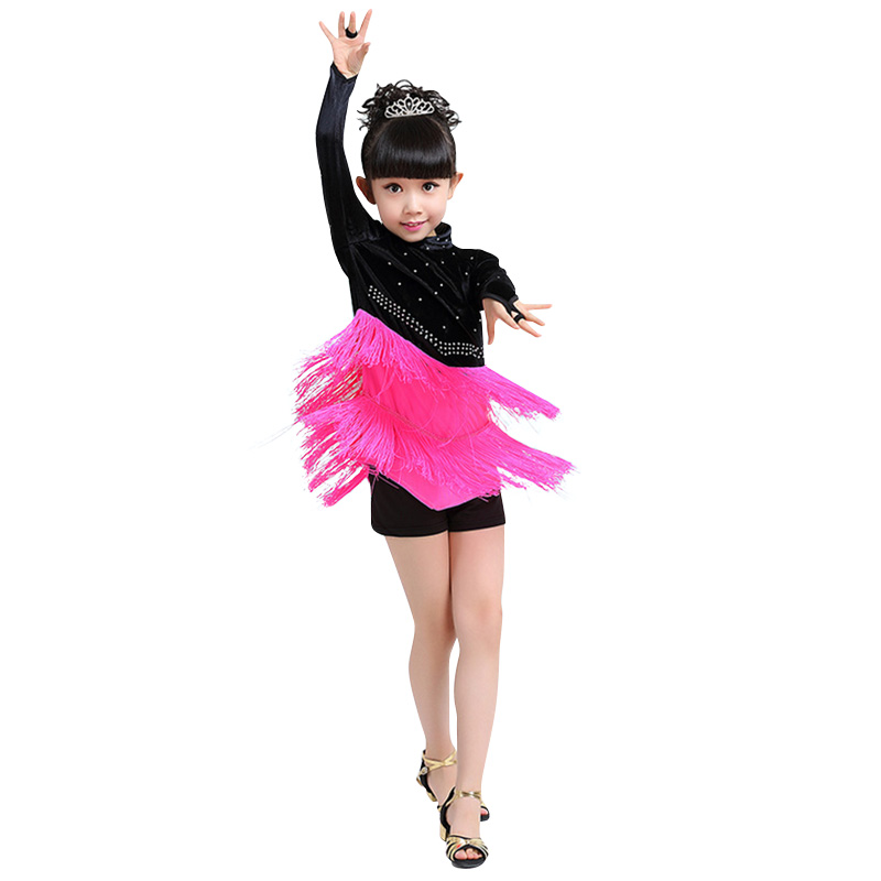 Newest Girls Latin Dance Dress Comfortable Dancing Clothing Tassel Dancewear Kids Elegant Performance Costume Dresses for Girls 3colors 100 160cm height kids child girls tassel dress ballroom latin salsa fashion dancewear dance costume dresses gifts
