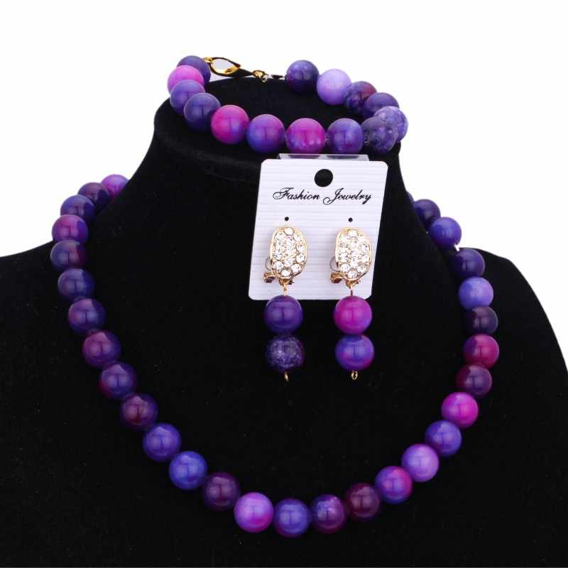 Dudo Jewelry Purple Blue Bridal Necklace Set For Women Crystal Stone African American Jewellery Set Free Shipping 2018 Fashion