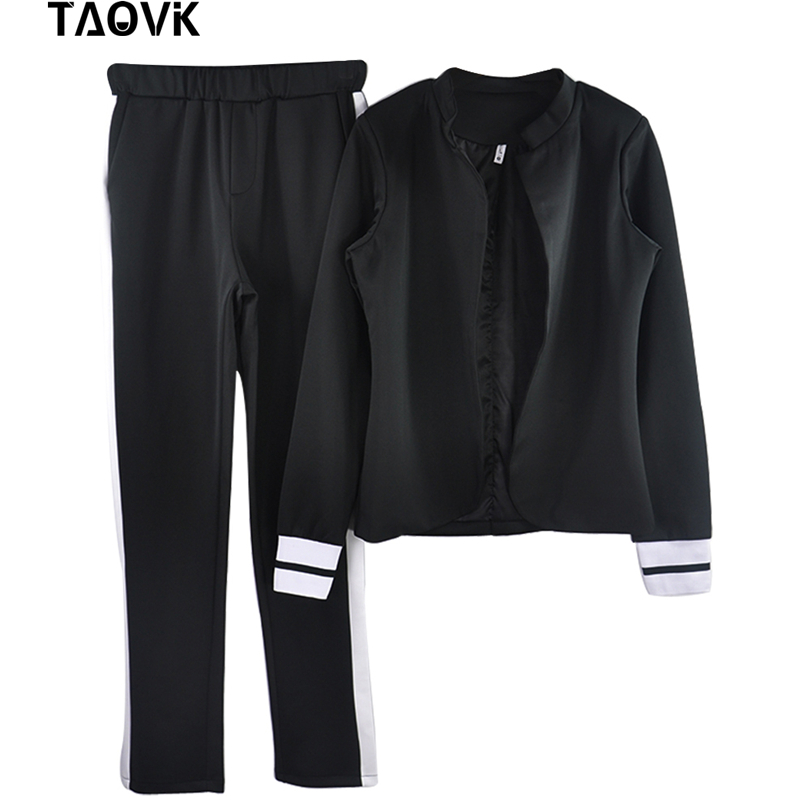 Image 2 - TAOVK women 2 two Piece Set suits Long sleeve stand up collar buttonless Black and white tracksuit-in Women's Sets from Women's Clothing