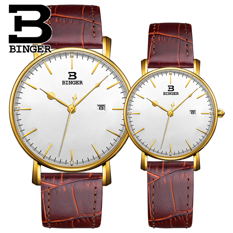 Classic England Wind Men Elegant Business Watch Ultra-thin Lovers Calendar Wristwatch Waterproof Real Leather Women Quartz Watch