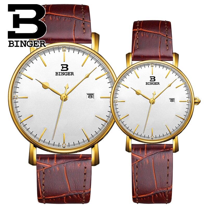 Homens de Negócios Amantes de Calendário Relógio de Pulso à Prova Relógio de Quartzo de Couro Clássico Inglaterra Vento Elegante Relógio Ultra-fino d' Água Mulheres Real