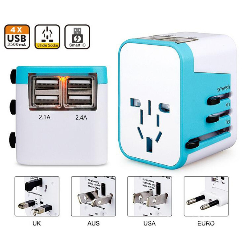 LEORY 4 USB Port Travel Plug Adapter All in One AU US UK EU Plug Power Socket Adapter 4 USB Charging DC 5V 2.4A 3500mA Adapter