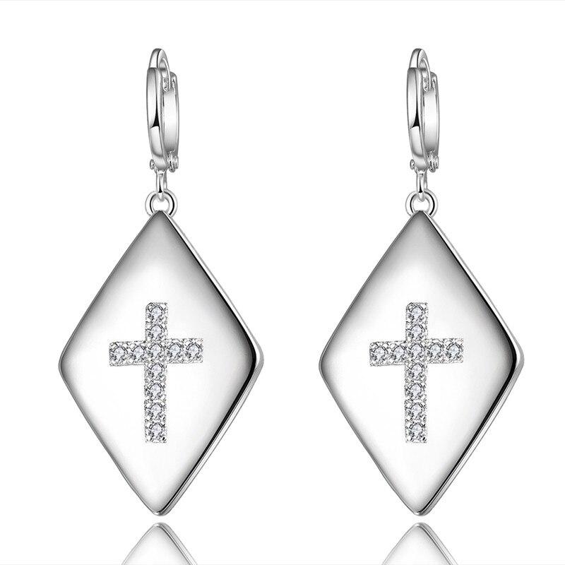 BRZHA Brand Jewelery Womens Zircon Cross Earrings Silver Plated Earrings Womens Fashion Jewelery