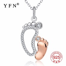 YFN Real 925 Sterling Silver CZ Rhinestone Mother and Baby Foot Pendant Necklace Mom Son Daughter Family Gift Jewelry GNX13838
