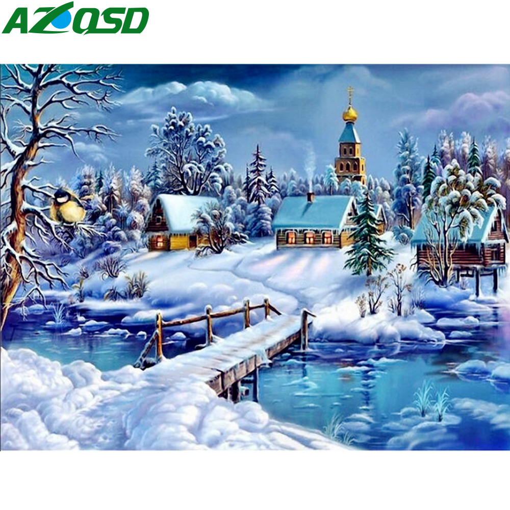 AZQSD Painting By Numbers Framed 40x50cm Winter Snow Oil Painting Picture By Numbers On Canvas Home Decor Szyh201