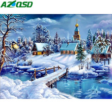 AZQSD Painting By Numbers Framed 40x50cm Winter Snow Oil Painting Picture By numbers On Canvas Home Decor szyh201(China)
