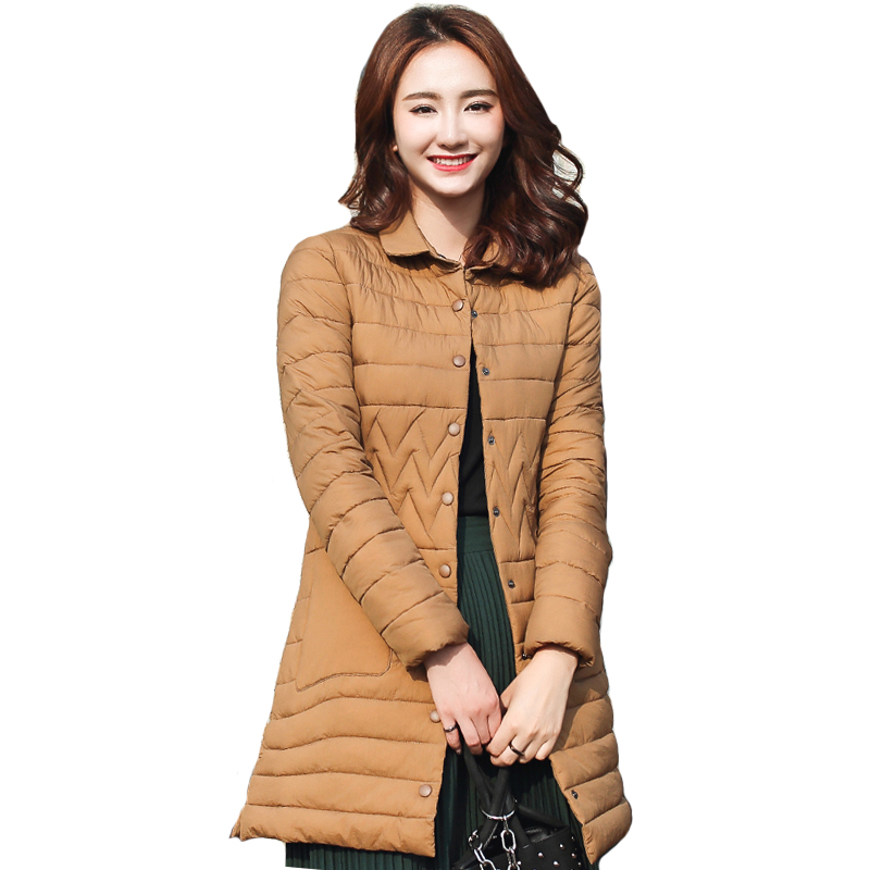 Turn Down Collar Winter Jacket Women Breasted Buttons Long Female Coat   Parka   Womens Jackets 2019 Outwear Chaqueta Mujer