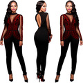 Sexy Sequin Long Sleeve Jumpsuit Women Autumn Winter Mesh Patchwork Plus Size Skinny Playsuit Full Length Backless Overalls 3XL