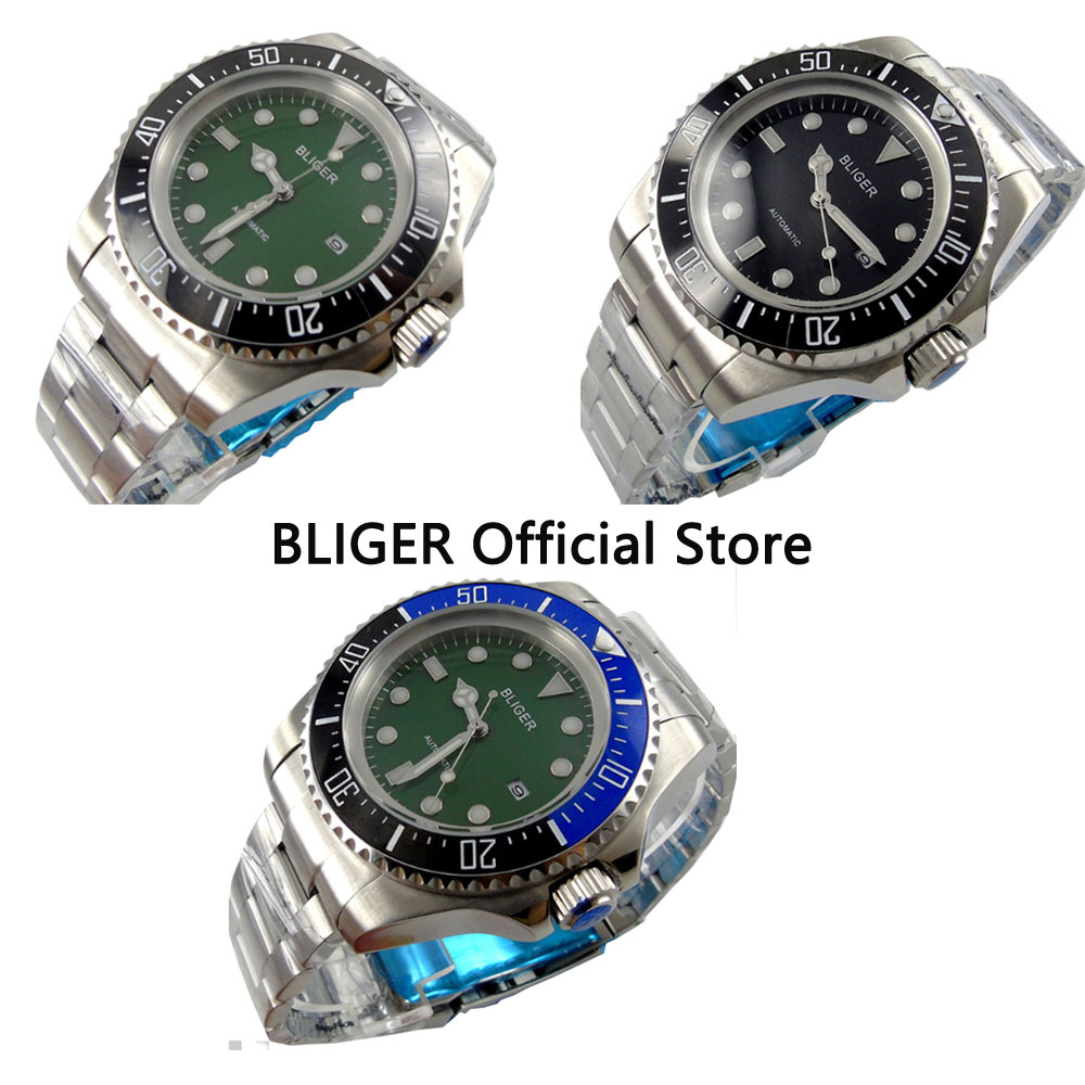Solid 44mm BLIGER Green Dial Black Ceramic Bezel SEA Luminous Marks Stainless Steel Band Automatic Movement Mens WatchSolid 44mm BLIGER Green Dial Black Ceramic Bezel SEA Luminous Marks Stainless Steel Band Automatic Movement Mens Watch