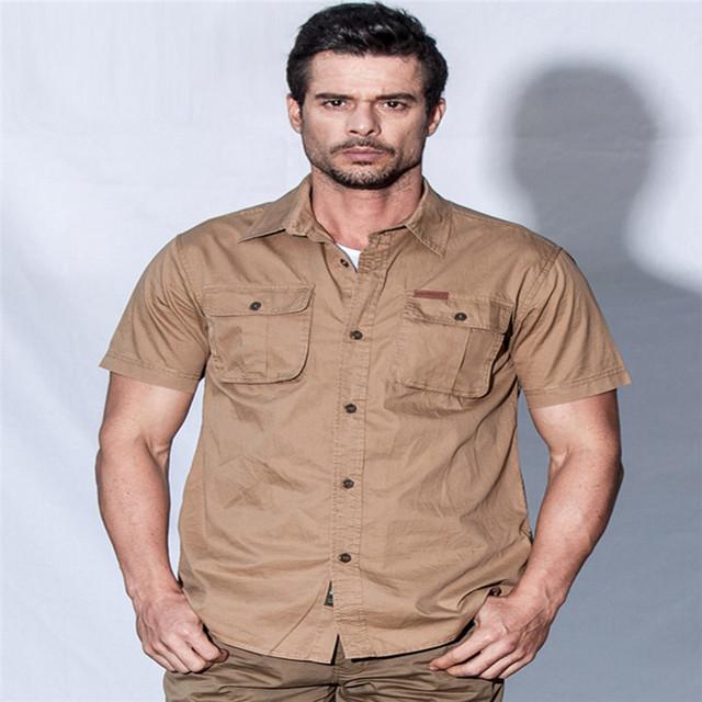 Camisa dos homens sociais wildgeeker 2017 ocasional de manga curta tecido 100% algodão lazer estilo militar jeep primavera camisas dos homens do verão