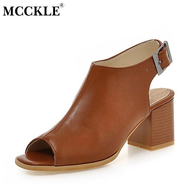 MCCKLE Woman Fashion High Heels Sandals Ladies Peep Toe Slingbacks Buckle Strap Comfort Solid Shoes Female Plus Size34-43