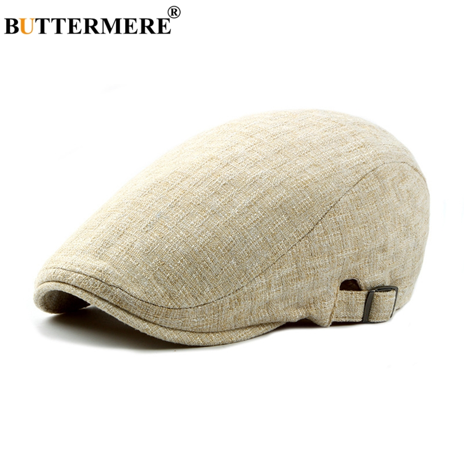BUTTERMERE Mens Linen Flat Caps Adjustable Vintage Spring Summer Beret Hat  Male Casual Gatsby Style Gifts 172c5a41ae9d